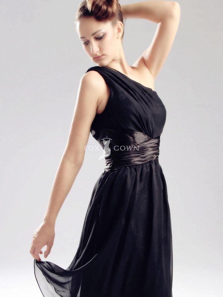 One Shoulder Black Prom Dresses