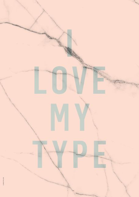 Posters from I Love My Type to sell in the shop www.interiordelights.eu
