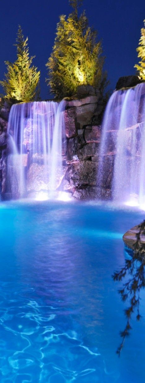 Pool with waterfalls angels pinterest water for Beautiful swimming pools with waterfalls