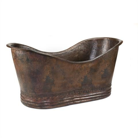 1702mm Hammered Copper Double Slipper Bathtub
