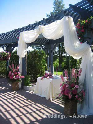 Arbor altar fabric drape wedding altar arbor ceremony for Altar decoration wedding