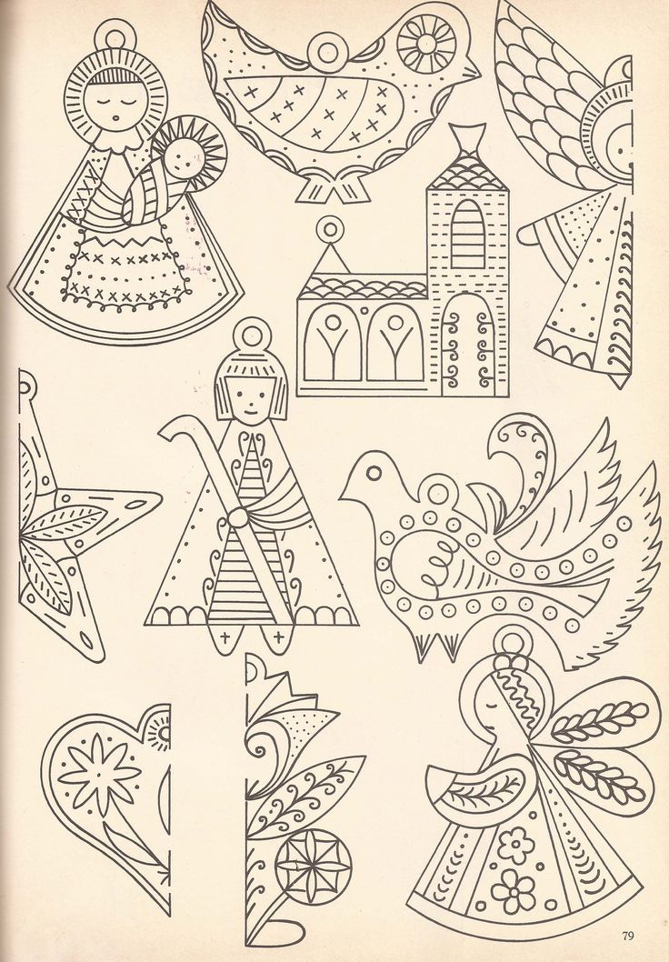 Christmas ornaments to embroider on felt or muslin. | Design: Margreet Akkerman | From: McCalls's Christmas Make-It Ideas magazine, vol. VI, 1963 - Source: Carla-at-Home | #embroidery #patterns #Christmas