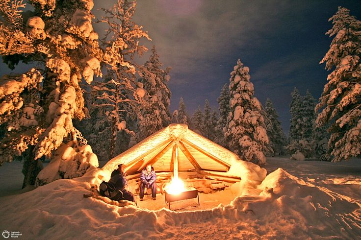 "Lapland, Finland. Wind shelter formed like a half ""kota"", the traditional tipi for Sami people."