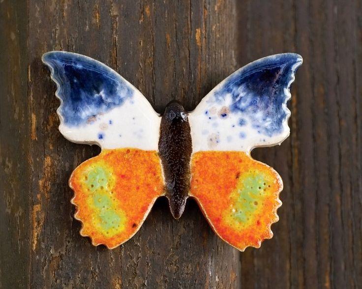 ceramic fridge magnet, home decor, ceramic butterfly, refrigerator magnet, raku firing technique, colored ceramic, office magnet, handmade by pentaxPL on Etsy