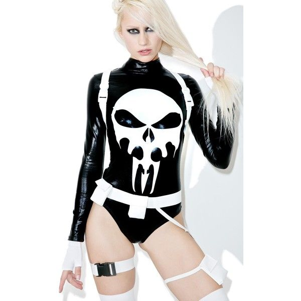 Women's Sexy Marvel Sexy Punisher Costume ($52) ❤ liked on Polyvore featuring costumes, sexy costumes, ladies halloween costumes, lady halloween costumes, xray costume and ladies skeleton costume
