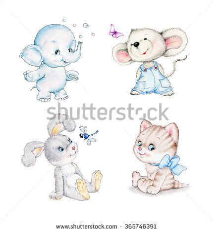 Set of animals: elephant, mouse, kitten, bunny