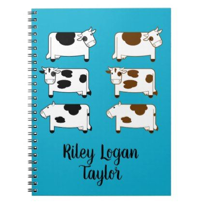 Cute Cartoon Dairy Cows Personalized Notebook - office ideas diy customize special
