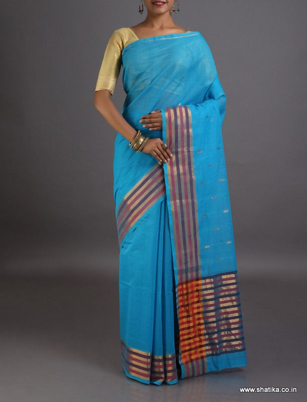 Divya Sky Blue Striped Pallu and Border #VenkatgiriCottonSaree