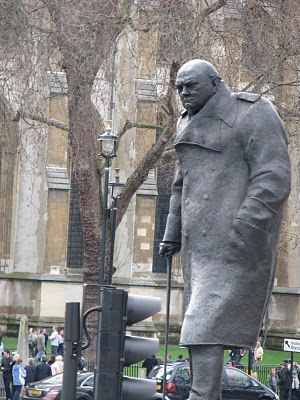 Statue of Sir Winston Churchill, Westminster Square, London. Before he passed Winston told the powers that be that he didn't want a statue of himself put up as he did not want pigeons pooping on his head. They did put up a statue but put an electric strip just under the top of his head, so no pigeon can sit and poop on his head!!.