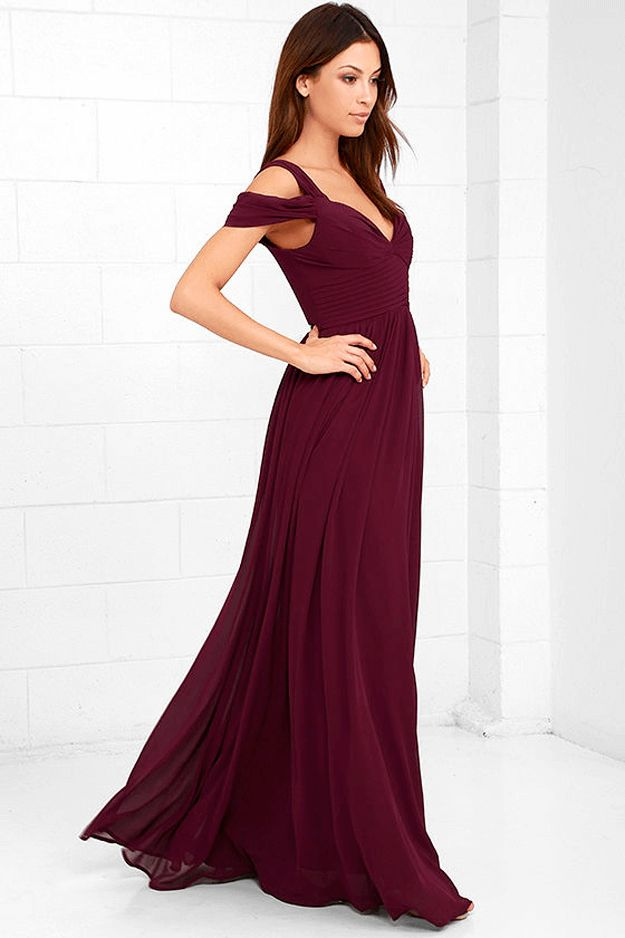 burgundy maxi dress against white background, wine red, berry red, burgundy, dark cherry red, beet red, maroon, mulberry, garnet, ruby red, pantone tawny port