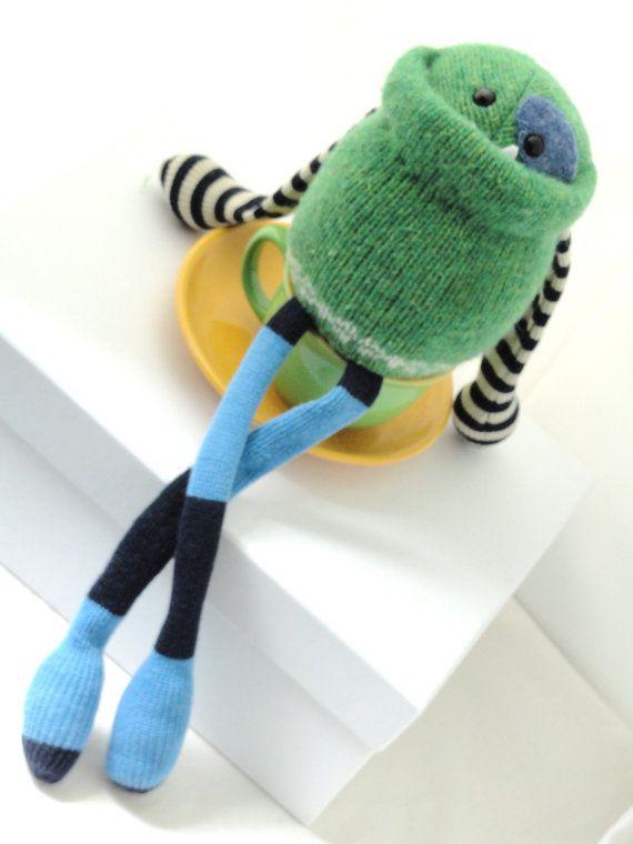Adopt a Smug Monster mini plush upcycled by BirdIsTheWordDesign, $25.00