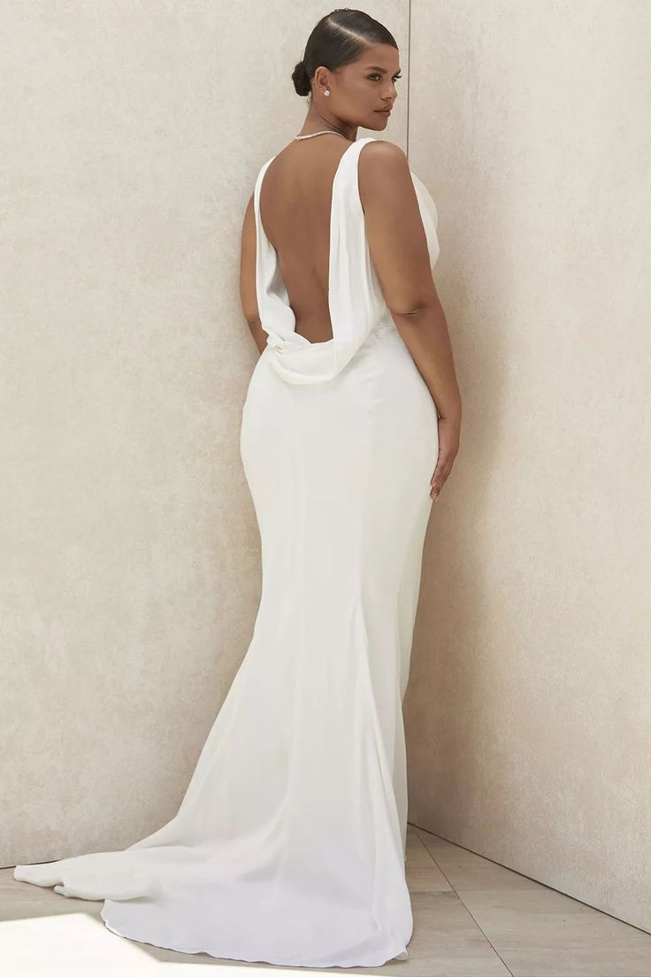 20 Cowl Back Wedding Dresses for an Ariana Grande Inspired Bridal ...