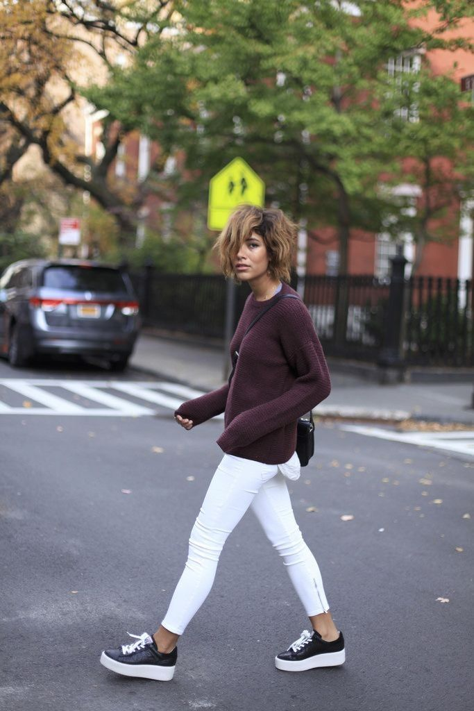 Best 25+ Platform sneakers outfit ideas on Pinterest | Long vest outfit Olivia palermo style ...