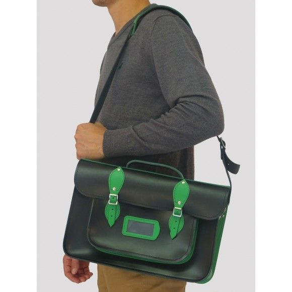 """A 15"""" Black/Green leather satchel bag with padded strap - smart and stylish. Made in Devon, UK  http://www.madecloser.co.uk/clothes-accessories/bags-accessories/devonshire-satchel-black-green"""