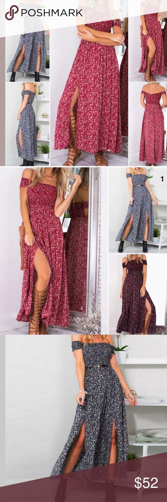 🎉 COMING SOON  IN BLUE 🎉 💕 Coming soon 💕 Blue floral off the shoulder sun dress. Flattering empire waist. Slits on either side of front of dress. Perfect beach dress or with your favorite cowgirl boots 😇 Dresses Maxi