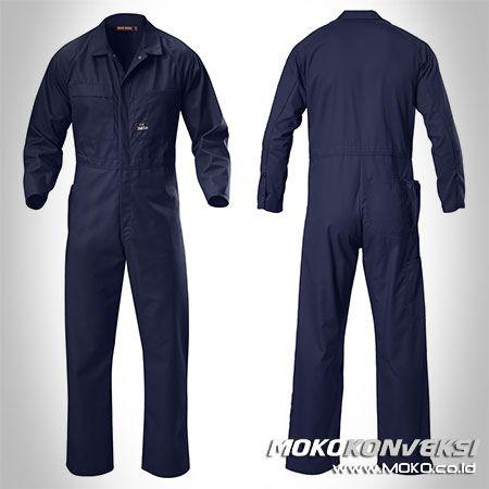 Safety Coverall - MOKO KONVEKSI. Harga Wearapck Kerja Coverall Warna Biru Navy.