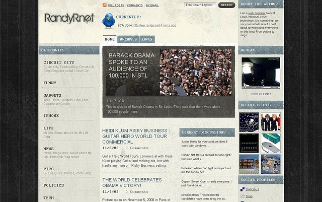 Redesigned my layout to something a little different. I'll be changing some of the looks here and there, but this is pretty much it!    www.randyr.net     Come seeHow thousands of our people have picked WordPress  http://hbb6.com/WebSiteDesign