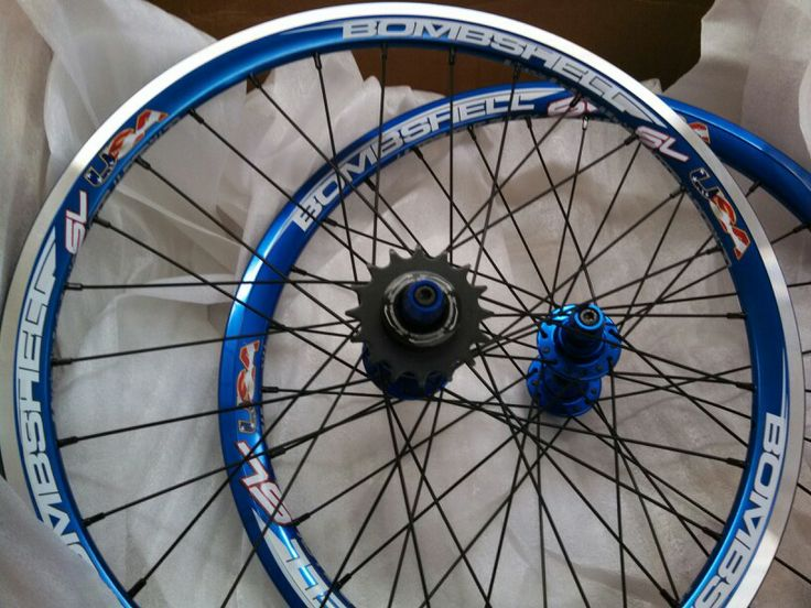 Bombshell BMX Racing Wheels in Blue. Front and Rear Specific rims.