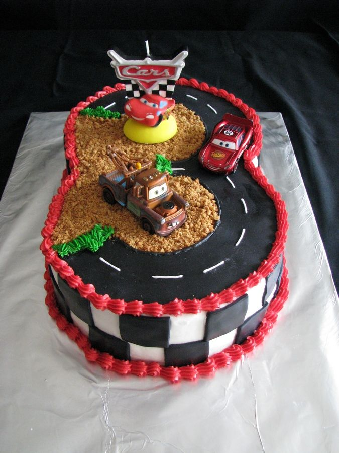 This cake idea came from one of the cake decoraters on cake central, and it turned out great. My nehpew turned three, and he loves the car movie.  Thanks for looking.