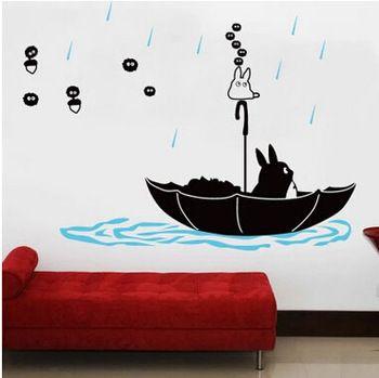 totoro 3d cartoon muurstickers home decor cartoon kinderen slaapkamer decoratie kat muursticker woonkamer behang