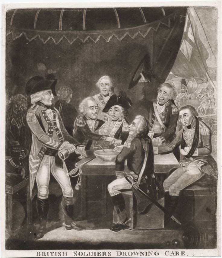 18th century Illustration of army officers dining