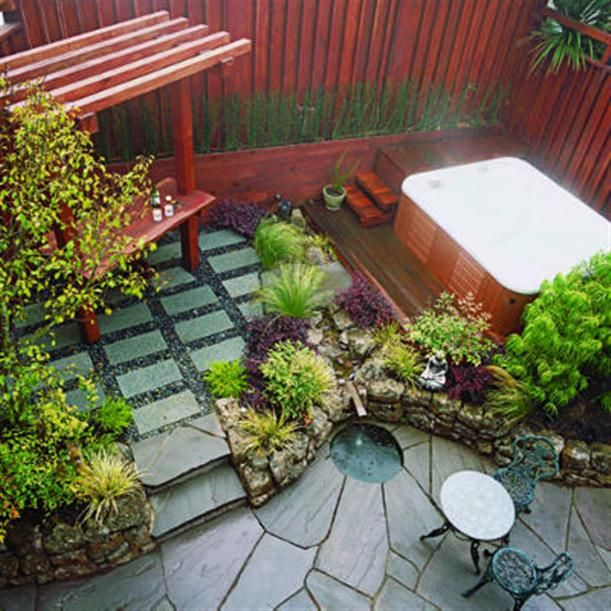 Marvelous Outdoor Landscape Ideas For Small Spaces Part - 11: Small Space Patio With Hot Tub