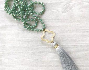 Annodato a mano cristallo. pdf dichiarazione collana, Collana Boho, collana, collana di trifoglio, bohemien gioielli, regali di Natale per lei