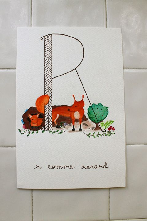 ABC Animals: R comme Renard ©2014 Amandinette Paperie.