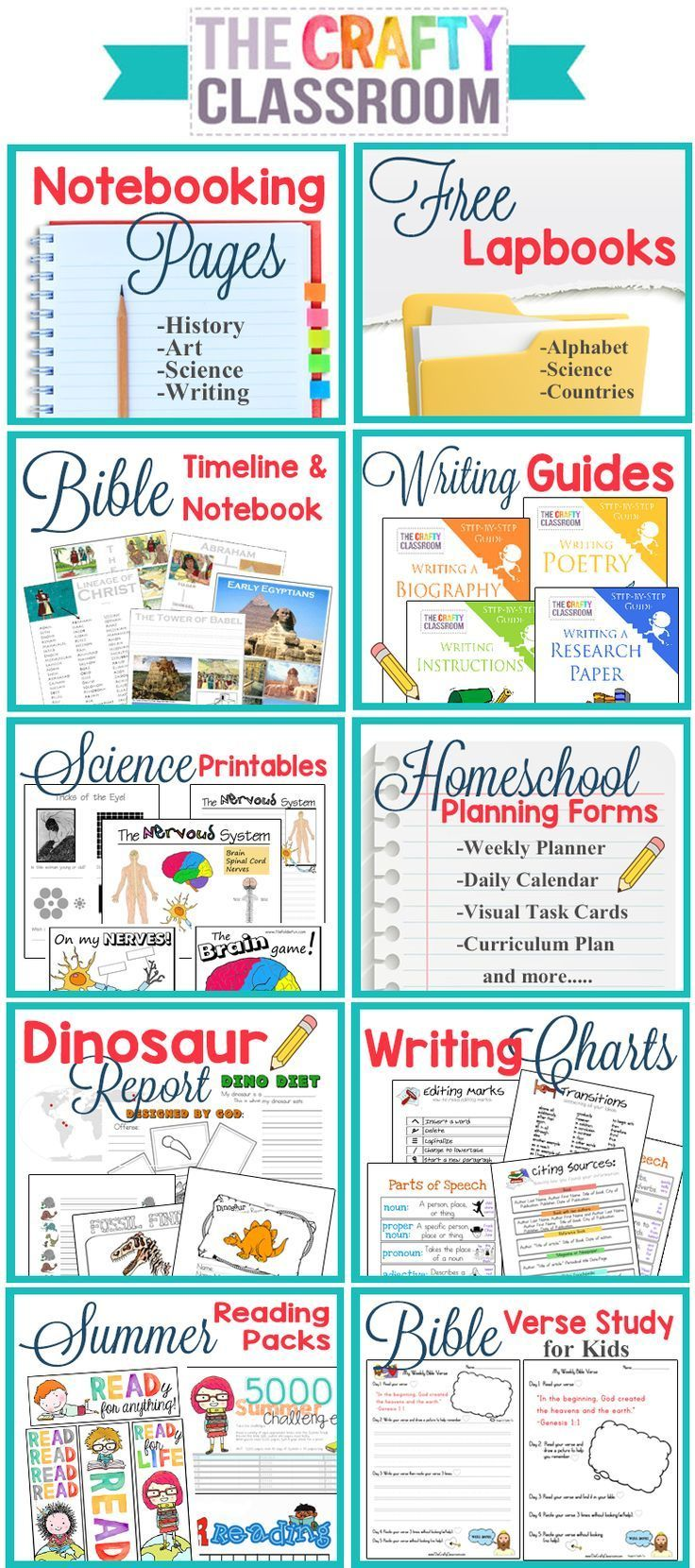 Free Homeschool Printables and Teaching Resources. There is so much here on this website!!  Bible Timeline, Writing Guides for Kids, Homeschool Planning Forms, Free Notebooking Pages, Free Lapbooks, Writing Charts....Huge Resource!!  http://www.TheCraftyC