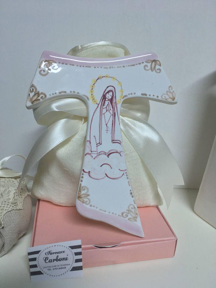 Bomboniera tau san Francesco con Madonna Lourdes. Originale, personalizzabile Fatto a Mano, in Italia.