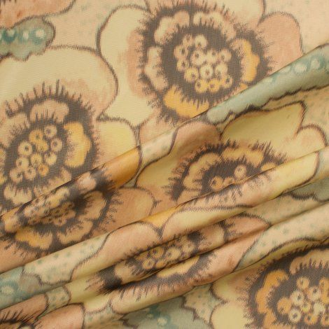 Soft Floral Printed Silk Taffeta