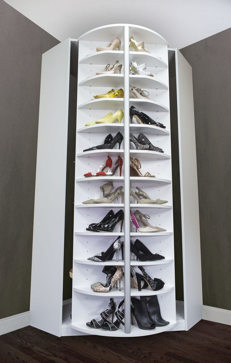 Image of: Rotating Shoe Rack in Corner