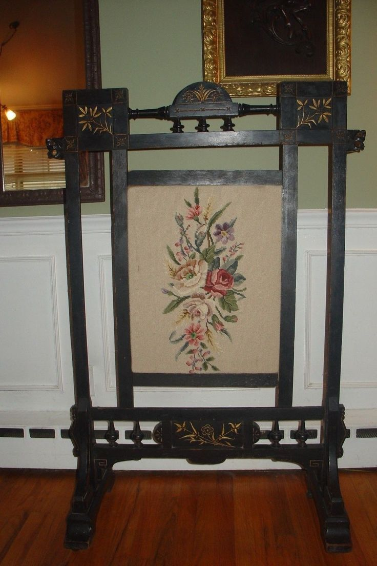 Hand carved amp upholstered chair late 1800 s grand rapids mi area - Antique Herter Bros Fire Screen Aesthetic Movement Ebonized 1800 S Marked