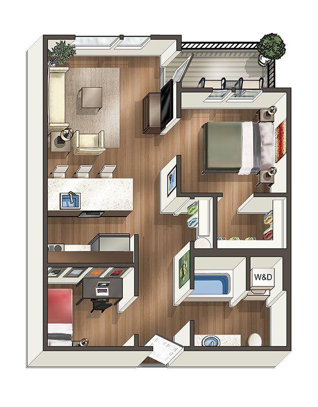 1 x 1 Den Floor Plan 3 Us town house Pinterest Apartments - plan maison sketchup gratuit