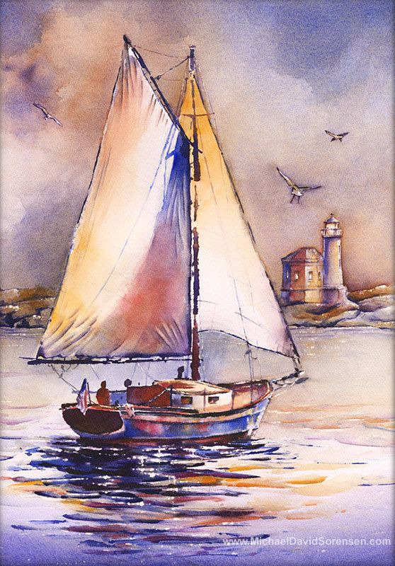 Sailing Past Bandon Light - Watercolor Painting Print by Michael David Sorensen. Lighthouse Art. Bandon Lighthouse. Sailboat Artwork.