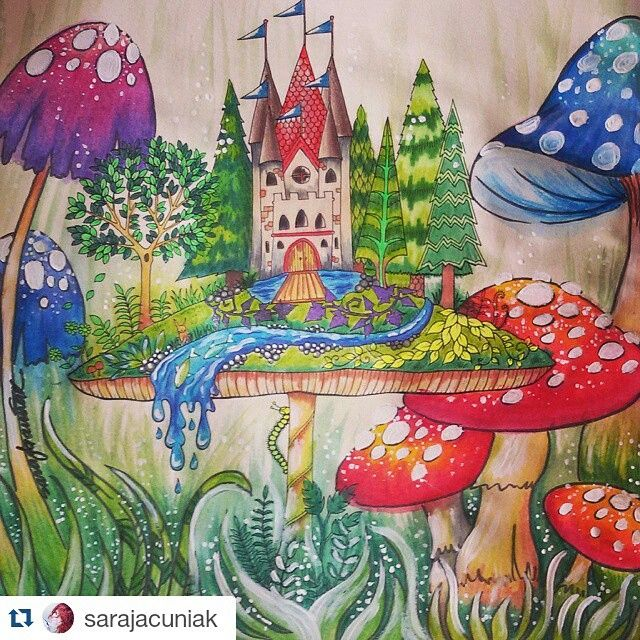 Mushroom Castle Enchanted Forest Johanna Basford Coloring BookAdult