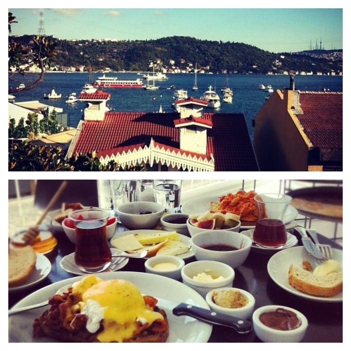 Mangerie in İstanbul, İstanbul: go in the morning for menemen (a traditional Turkish breakfast dish with eggs, tomato, onion, and spices) or later in the day to sit back with a local Efes beer. It's worth the climb up a narrow three-flight staircase to get the views of the Bosphorus Strait.