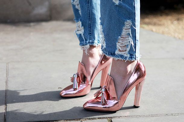 monday inspiration rose gold heels streetstyle