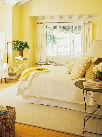pale yellow bedroom for the home
