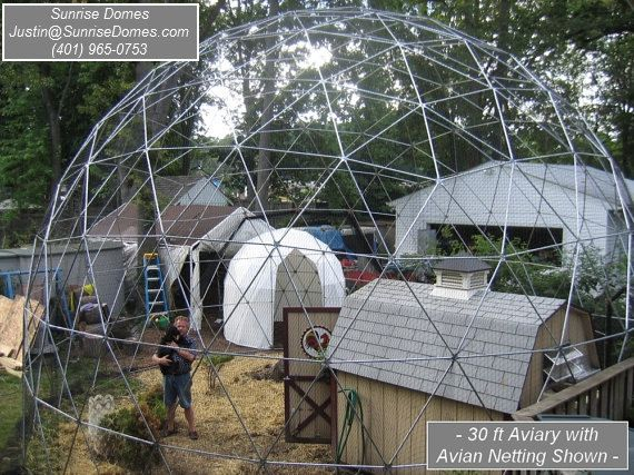 30 ft Geodesic Dome Outdoor Aviary Flight Cage by SunriseDomes