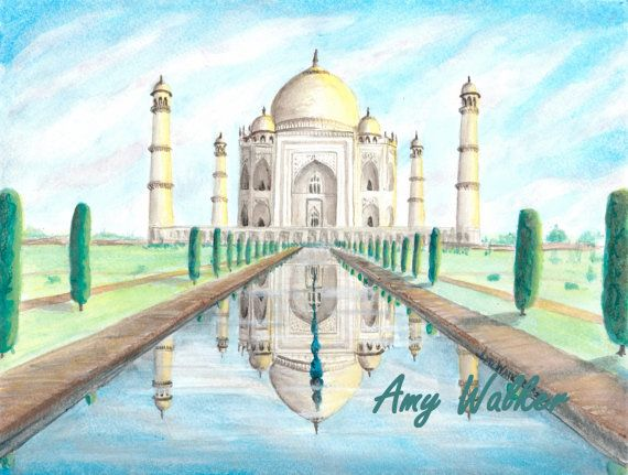 Taj Mahal Reflection PRINT of an Original Watercolor Mixed ...