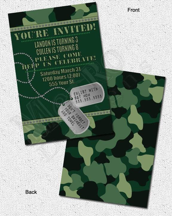 Camo Invitations PRINTABLE, D.I.Y.  - by Metro Events/Metro-Designs. $6.98, via Etsy.