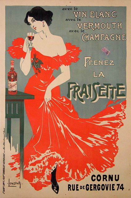 french art nouveau advert - bottom of skirt looks like tulip