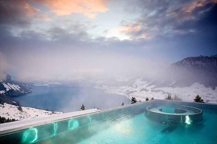 cool pool: edgeless endless pool on mtn view! 5-star Villa Honegg Luxury Hotel, on mount Bürgenstock, Lake Lucerne, Switzerland, 914m ask, historic building, 23 boutique rooms (via ArchitectureArtDesigns.com) 3