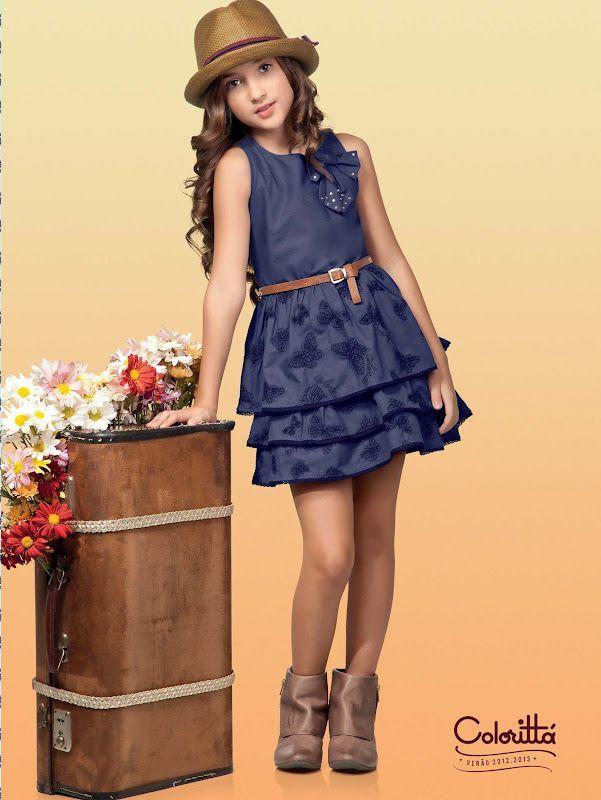 Resultado de imagen para tendencias de vestidos jeans para niñas