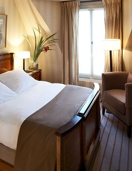 A guest room at the stylish Hôtel Montalembert. 3 rue de Montalembert; +33-1-45-49-68-68; hotel-montalembert.fr