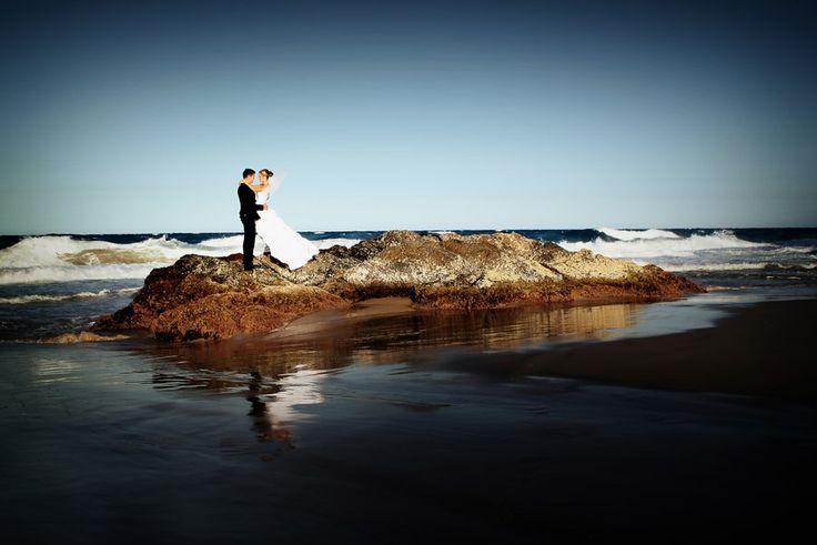 Bride & Groom + ocean, rocks