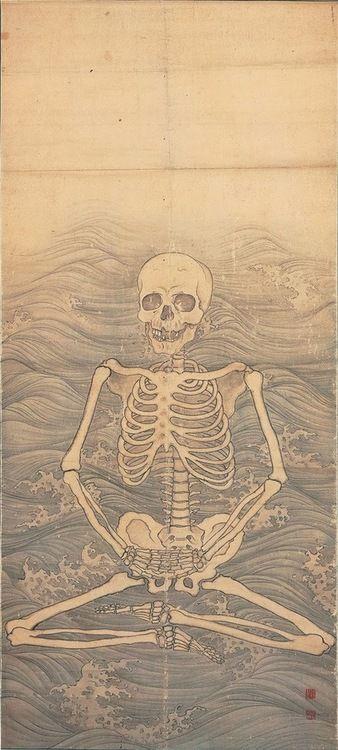 MARUYAMA Okyo, Skeleton Performing Zazen on Waves, c.1787 Japan