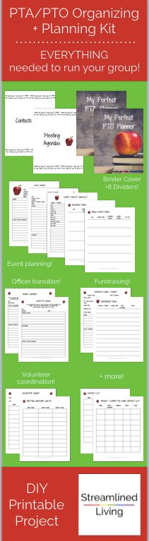 This is printable kit is awesome!  It has everything needed to run a PTA or PTO.  From fundraising ideas to event planning to office transitions to volunteer coordination and binder organization, this printable kit really does have it all!  You'll have the best school year as PTA President with this kit!
