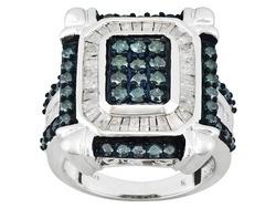 Blue Velvet Diamond(Tm) And White Dia 2.00ctw Rhod Over Sterling Silver Ring Erv: $750.00